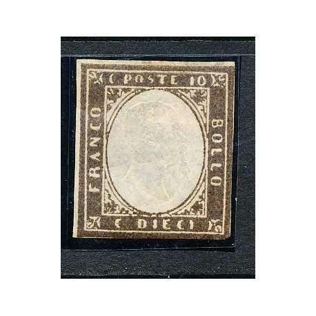1855 SARDEGNA 10 C. BRUNO OLIVASTRO SCURO (14Bd) MARGINI COMPLETI CERTIFICATO US Sardegna francobolli filatelia stamps