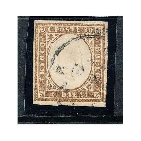 1855 SARDEGNA 10 C. BRUNO CIOCCOLATO CHIARO (14Ck) BEN MARGINATO CERTIFICATO US Sardegna francobolli filatelia stamps