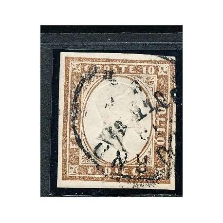 1855 SARDEGNA 10 C. BRUNO CIOCCOLATO SCURO (14Ce) BEN MARGINATO CERTIFICATO US Sardegna francobolli filatelia stamps