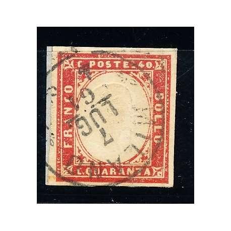 1855 SARDEGNA 40 C. VERMIGLIO M. CHIARO (16Db) SU FRAMMENTO HQ CERTIFICATO US Sardegna francobolli filatelia stamps