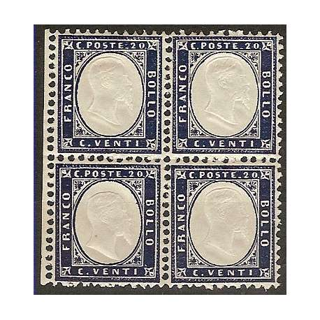 IL N.°2 DEL REGNO IN QUARTINA DI LUSSO!!! G.I. regno d' Italia francobolli filatelia stamps