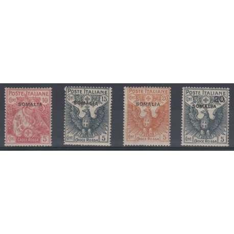 SOMALIA 1916 CROCE ROSSA G.I./G.O. (MNH/MLH) SU ALCUNI LIEVI T.L. Colonie francobolli filatelia stamps