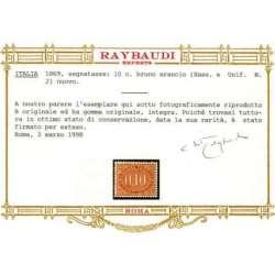 1869 REGNO D' ITALIA SEGNATASSE 10 c. n.2 OTTIMA CENTRATURA CERT. G.I. MNH** regno d' Italia francobolli filatelia stamps