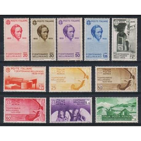 1935 CENTENARIO MORTE VINCENZO BELLINI HQ G.I. (MNH) / POSTA AEREA G.O. (MH) regno d' Italia francobolli filatelia stamps