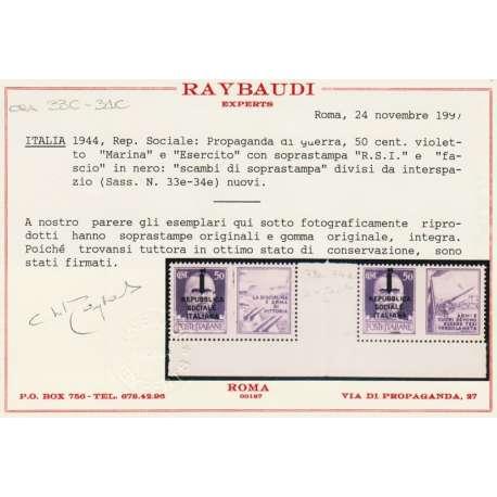 1944 COPPIA 50 c. VIOLETTO (33C-34C) SCAMBI DI SOPR. INTERSPAZIO DI GRUPPO G.I. R.S.I. e Luogotenenza francobolli filatelia ...