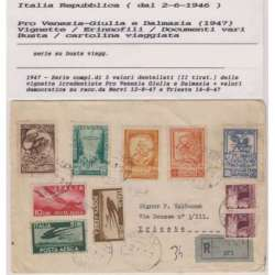 1947 RARA BUSTA VIAGGIATA CON VIGNETTE PRO VENEZIA GIULIA CERTIFICATO Occupazioni francobolli filatelia stamps