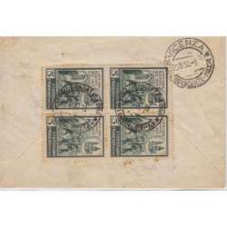 1956 REPUBBLICA ETICHETTA DA 5 L. IN QUARTINA SU BUSTA VIAGGIATA CERT. repubblica italiana francobolli filatelia stamps