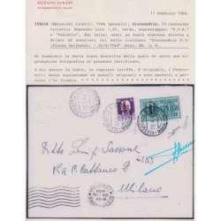 1944 ALESSANDRIA PFR 50 c. + EX 1,25 L. Nn. 3-6 SU BUSTA VIAGGIATA CERT. Occupazioni francobolli filatelia stamps