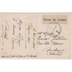 1945 ETICHETTA POSTA DA CAMPO SU CARTOLINA AUGURALE VIAGGIATA CERT. Occupazioni francobolli filatelia stamps