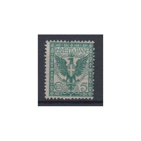 1901 FLOREALE 5 CENT. CON G.O. (MLH) regno d' Italia francobolli filatelia stamps