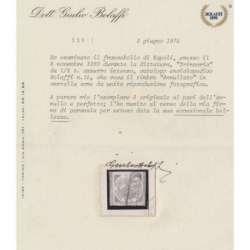 1860 NAPOLI DITTATURA ½ t. TRINACRIA AZZURRO VIVO n.15a CERT. US. Napoli francobolli filatelia stamps