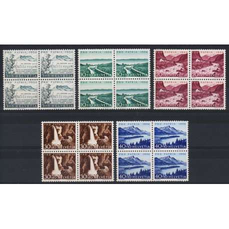 1954 SVIZZERA PRO PATRIA 5 V. IN QUARTINE G.I. (MNH) Svizzera francobolli filatelia stamps