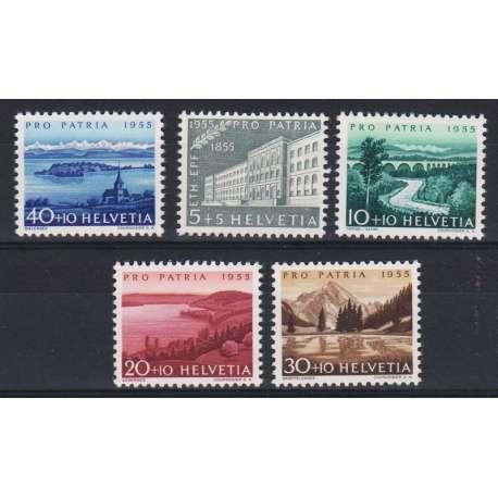 1955 SVIZZERA PRO PATRIA 5 V. G.I. (MNH) Svizzera francobolli filatelia stamps