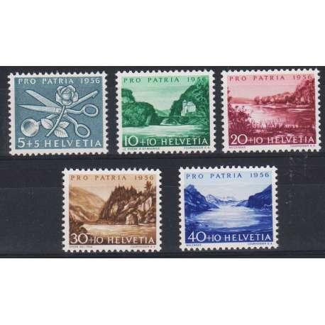 1956 SVIZZERA PRO PATRIA 5 V. G.I. (MNH) Svizzera francobolli filatelia stamps
