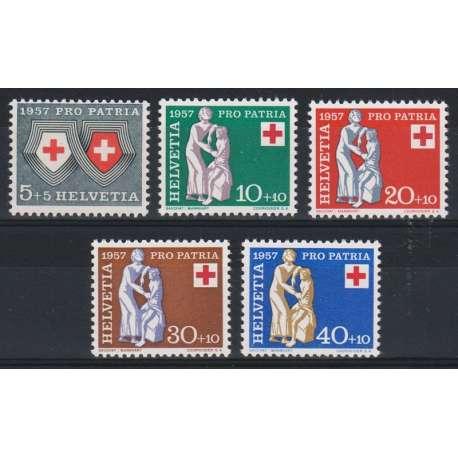 1957 SVIZZERA PRO PATRIA 5 V. G.I. (MNH) Svizzera francobolli filatelia stamps