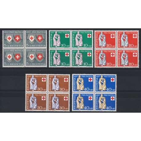 1957 SVIZZERA PRO PATRIA 5 V. IN QUARTINE G.I. (MNH) Svizzera francobolli filatelia stamps