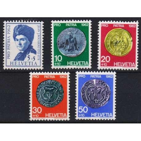 1962 SVIZZERA PRO PATRIA 5 V. G.I. (MNH) Svizzera francobolli filatelia stamps