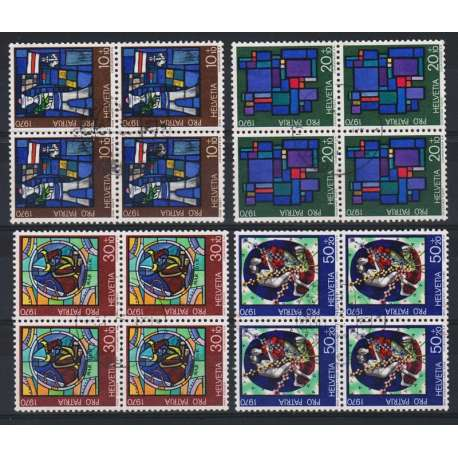 1970 SVIZZERA PRO PATRIA 4 V. IN QUARTINE US. Svizzera francobolli filatelia stamps