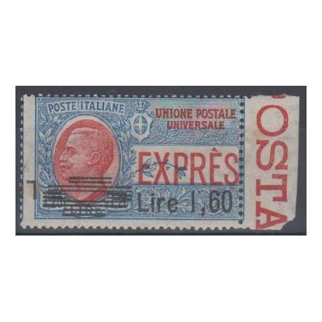 1924 ESPRESSO L.1,60 SU L.1,20 DOPPIA SOPR. DI CUI UNA CAPOVOLTA EXPERTICE G.O.