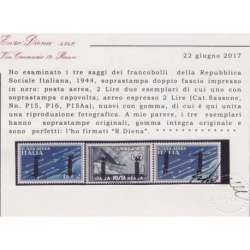 1944 R.S.I. SAGGI P.A. 3 V. \nDOPPIO FASCIO Nn.P15A-P16-P15Aa CERT. G.I.MNH** R.S.I. e Luogotenenza francobolli filatelia st...