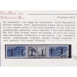 1944 R.S.I. SAGGI P.A. 3 V. SOPR. DOPPIO FASCIO Nn.P15A-P16-P15Aa CERT. G.I.MNH**