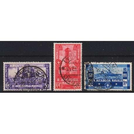 1931 ACCADEMIA NAVALE DI LIVORNO 3 V. (S60) 1,25 LIRE DIFETTOSO US. regno d' Italia francobolli filatelia stamps