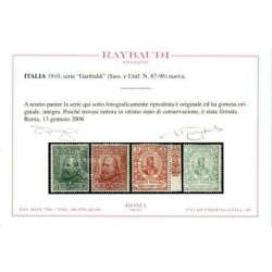 REGNO D'ITALIA 1910 GARIBALDI 4 VALORI G.I MNH** CERT. regno d' Italia francobolli filatelia stamps