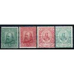 REGNO D'ITALIA 1910 GARIBALDI 4 VALORI G.I MNH** 2 CERT. regno d' Italia francobolli filatelia stamps