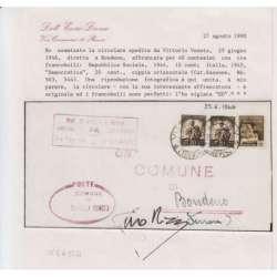 REPUBBLICA SOCIALE 1944-45 N.503 RARO USO TARDIVO CON DEMOCRATICA SU BUSTA CERT. R.S.I. e Luogotenenza francobolli filatelia...