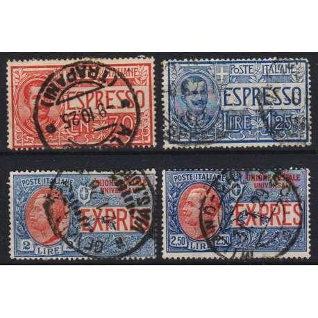 1925-26 ESPRESSI TIPI DEL 1903-08 4 V. (S1801) US. ANNULLO ORIGINALE! regno d' Italia francobolli filatelia stamps