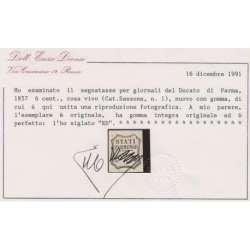 PARMA 1857 SEGNATASSE PER GIORNALI 6 c. n.1 CERT. G.I. MNH** Modena e Parma francobolli filatelia stamps