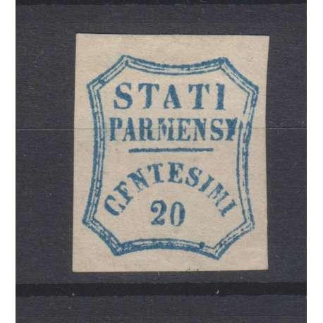 PARMA 1859 GOVERNO PROVVISORIO 20 CENTESIMI N.15e G.O MLH* FRESCO CERT.