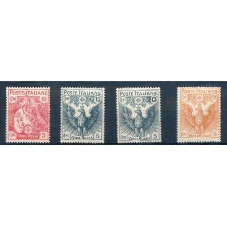 1915-16 PRO CROCE ROSSA CON G.I. regno d' Italia francobolli filatelia stamps