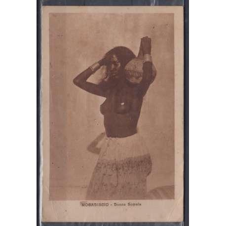 SOMALIA 1926 LEONI 20 CENT. SU 2 a. US. SU INTERESSANTE CARTOLINA VIAGGIATA Colonie francobolli filatelia stamps