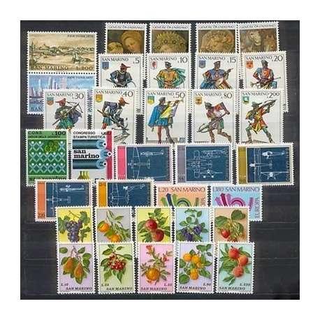 1974 SAN MARINO ANNATA COMPLETA + P.A. G.I. San Marino francobolli filatelia stamps