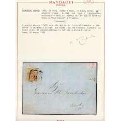 1850 LOMBARDO VENETO 30 c. 8a SPAZIO TIPOG. ORIZ. 8d SU BUSTA VAPORE CERT. US Lombardo Veneto francobolli filatelia stamps