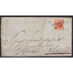 1850 LOMBARDO VENETO 15 c. ROSSO VERMIGLIO INT. II TIPO n4b SU BUSTA FIRMATO US. Lombardo Veneto francobolli filatelia stamps