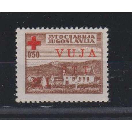 TRIESTE ZONA B 1948 PRO CROCE ROSSA VARIETA' SOPR. ROSSA N.4A G.I MNH** 2 CERT.
