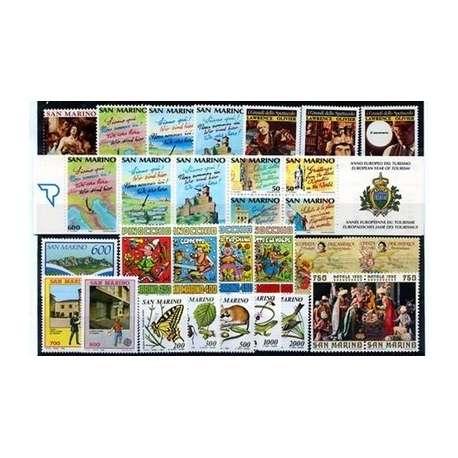 1990 SAN MARINO ANNATA COMPLETA + BF G.I. San Marino francobolli filatelia stamps