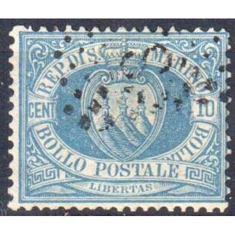 1877 SAN MARINO 10 c. AZZURRO n.3A STEMMA US. San Marino francobolli filatelia stamps