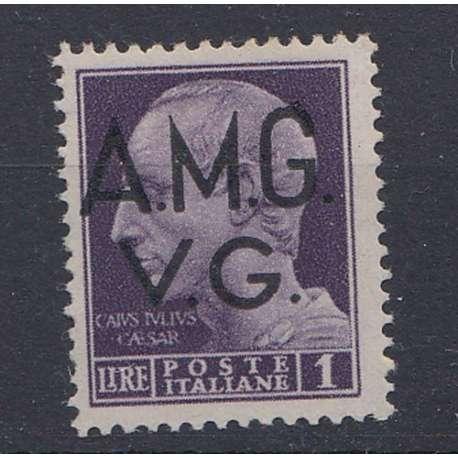 VENEZIA GIULIA 1945-47 1 L DECALCO DELLA SOPRASTAMPA (8p) G.O. MH* Occupazioni francobolli filatelia stamps