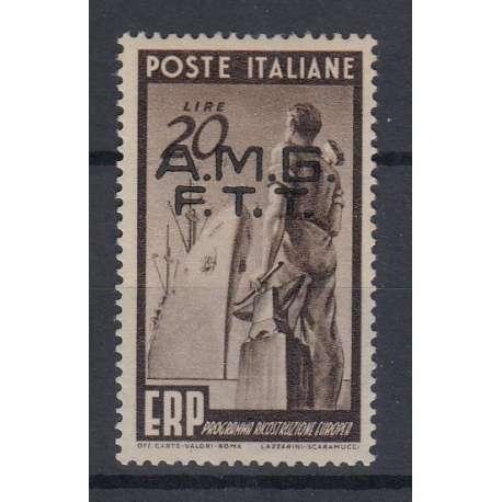 """TRIESTE ZONA """"A"""" 1949 E.R.P. 20 L DECALCO DELLA SOPR. (45b) G.O MH* PUNTO OSS Trieste Zona """"A"""" francobolli filatelia stamps"""
