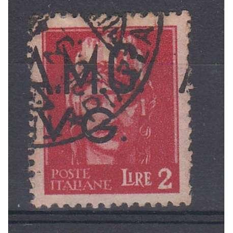 VENEZIA GIULIA 1945-47 2 LIRE CON SOPRASTAMPA SPOSTATA A SINISTRA (9hc) US. Occupazioni francobolli filatelia stamps