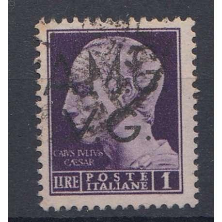VENEZIA GIULIA 1945-47 1 L SOPRASTAMPA EVANESCENTE (8hg) US. Occupazioni francobolli filatelia stamps