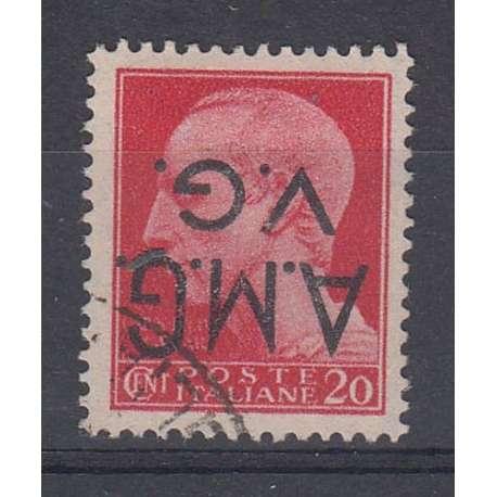 VENEZIA GIULIA 1945-47 20 CENT. CON SOPRASTAMPA CAPOVOLTA US. Occupazioni francobolli filatelia stamps
