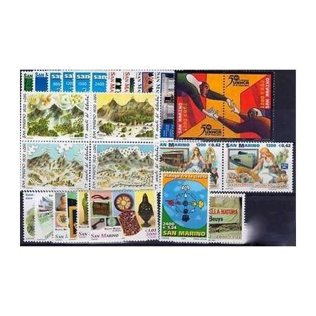 2001 SAN MARINO ANNATA COMPLETA + BF G.I. San Marino francobolli filatelia stamps