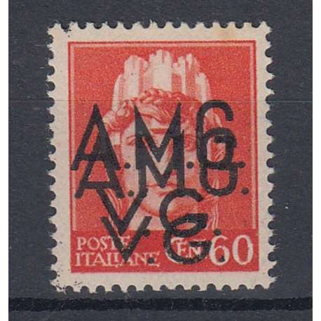 VENEZIA GIULIA 1945-47 60 C DOPPIA SOPRASTAMPA (7e) G.O. MH* Occupazioni francobolli filatelia stamps