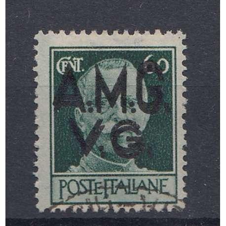 VENEZIA GIULIA 1945-47 60 C DOPPIA SOPRASTAMPA (6e) US. Occupazioni francobolli filatelia stamps