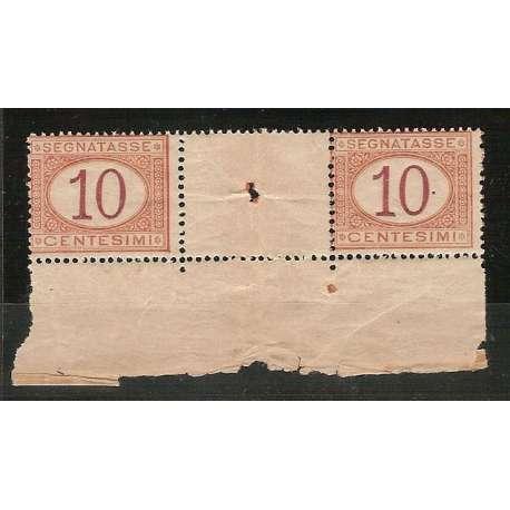 1890 TASSE N. 21 COPPIA INTERSPAZIO DI GRUPPO BORDO DI FOGLIO CERTIFICATO !!G.I. regno d' Italia francobolli filatelia stamps