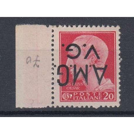 VENEZIA GIULIA 1945-47 20 C. SOPRASTAMPA CAPOVOLTA (4d) G.I. MNH** Occupazioni francobolli filatelia stamps